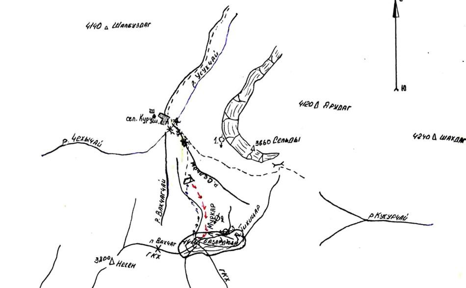 Схема восхождения на Базардюзю